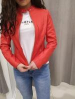 Červená koženková bunda ANNABETH
