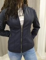Modrá koženková bunda BIANCA
