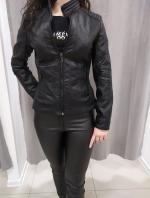 Čierna koženková bunda ADRIANA